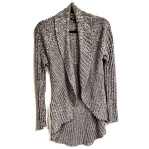 Gray Ribbed WaterFall Open Front Cardiga